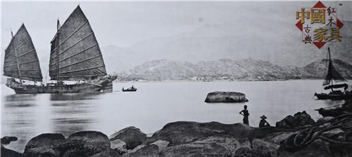 1清末的广州,图中的商船由广东建造,是当时中国南部最快的船只之一